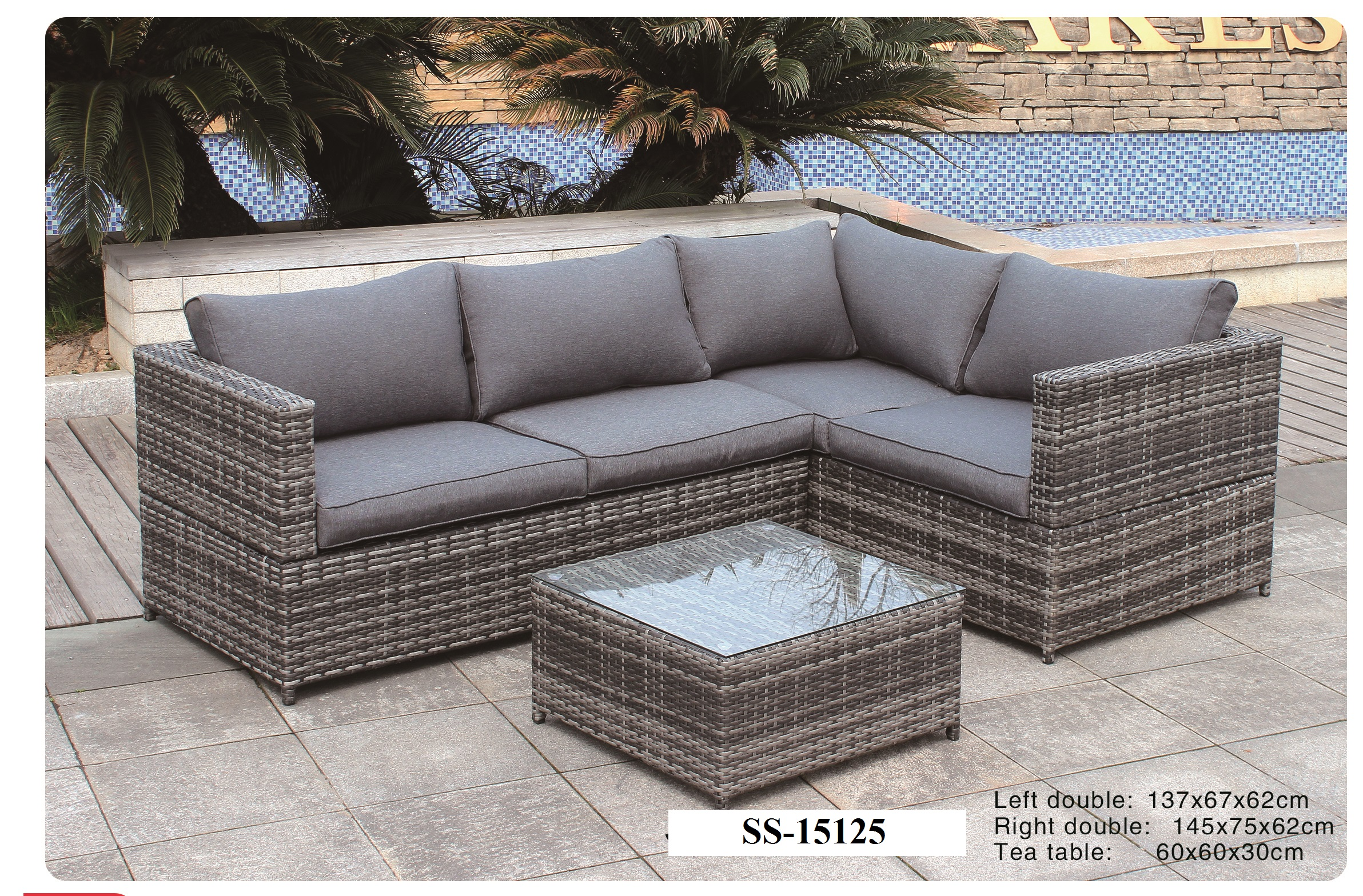 Grey Wicker Sofa Five Piece Rattan Garden Furniture