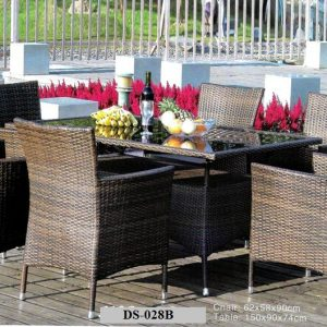 6 Seater Wicker Dining Set DS-028B