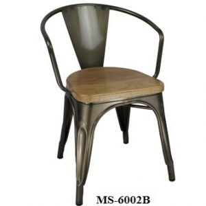 Metal Chair Low Back Wooden Seat MS-6002B
