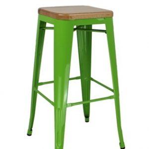 Metal Bar Stool Wood Seat MS-6015B