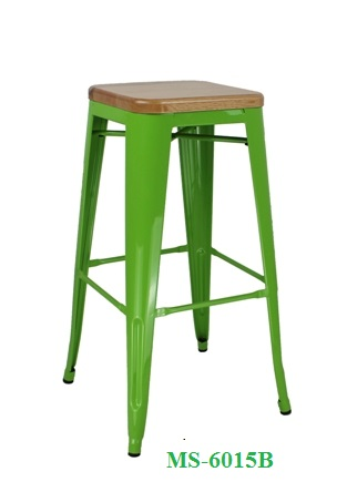 Metal Bar Stool Wood Seat MS-6015B