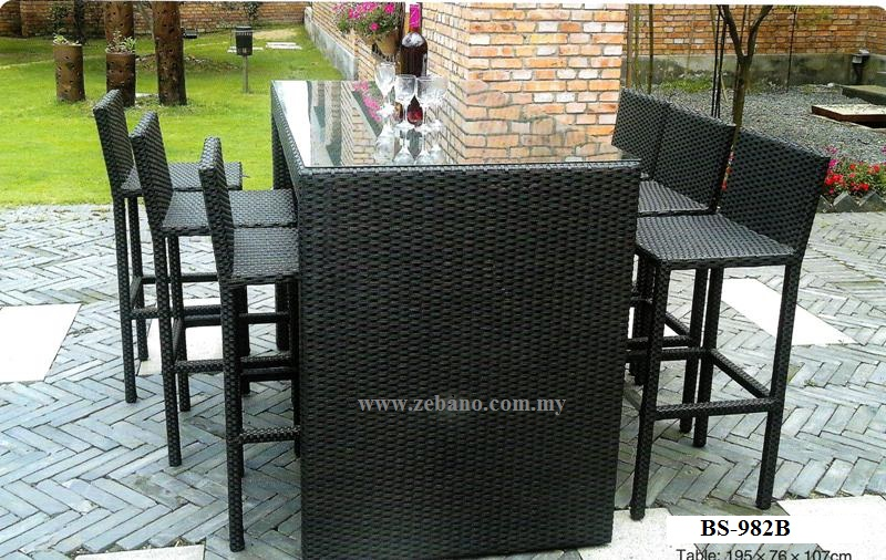 Synthetic Wicker Outdoor Bar Set BS-982b