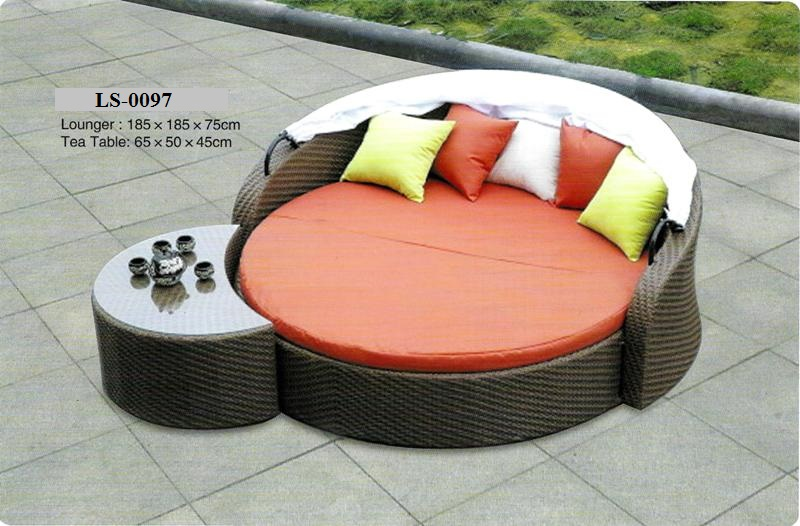 Wicker Outdoor Day Bed With Canopy LS-0097