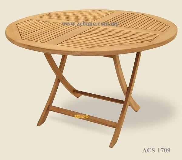 Foldable round teak wood table