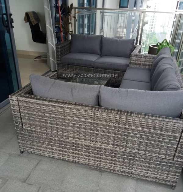 L shape grey rattan sofa set SS-15125