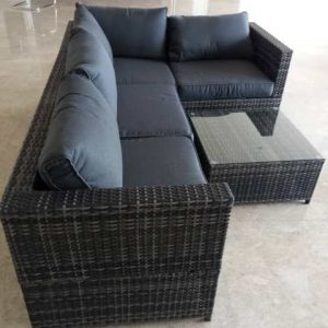L Shape Grey Rattan Sofa Set SS 15125