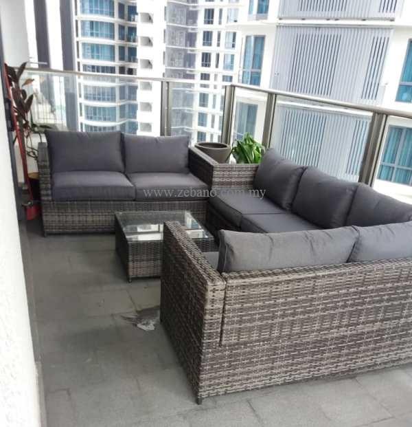 L shape grey rattan sofa set SS-15125 (3)