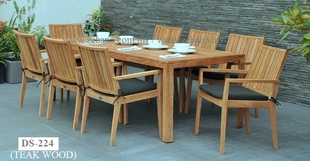 Rattan Chair Teak Table Dining Set