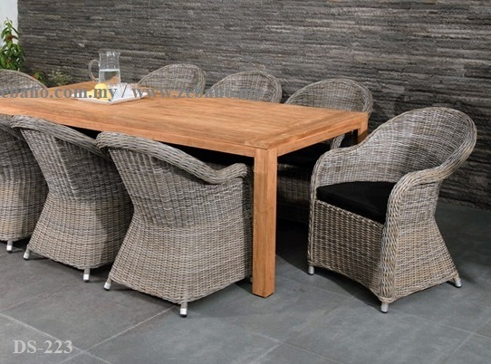 Rattan Chair Teak Table Dining Set Zebano