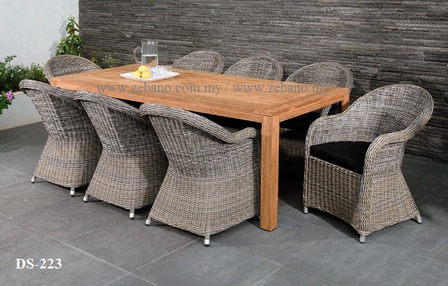 Rattan Chair Teak Table Dining Set DS-223