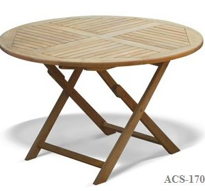 Round Folding Table Teak Wood Zebano Malaysia