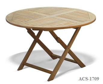 Round-Folding-Table-teak wood Zebano Malaysia