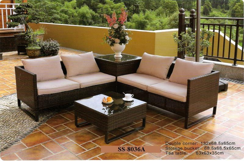 Sectional wicker corner sofa