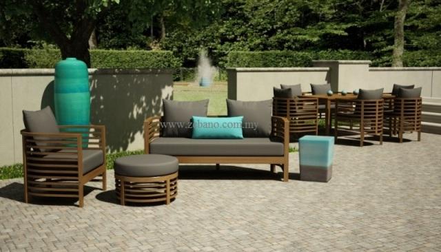 Teak sofa set supplier malaysia zebano