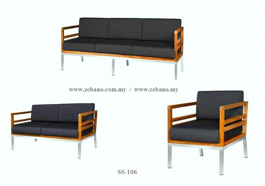 Teak Sofa With Stainless Steel Frame  SS-106