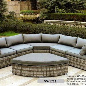 Wicker Round Corner L Shape Sofa SS-1211