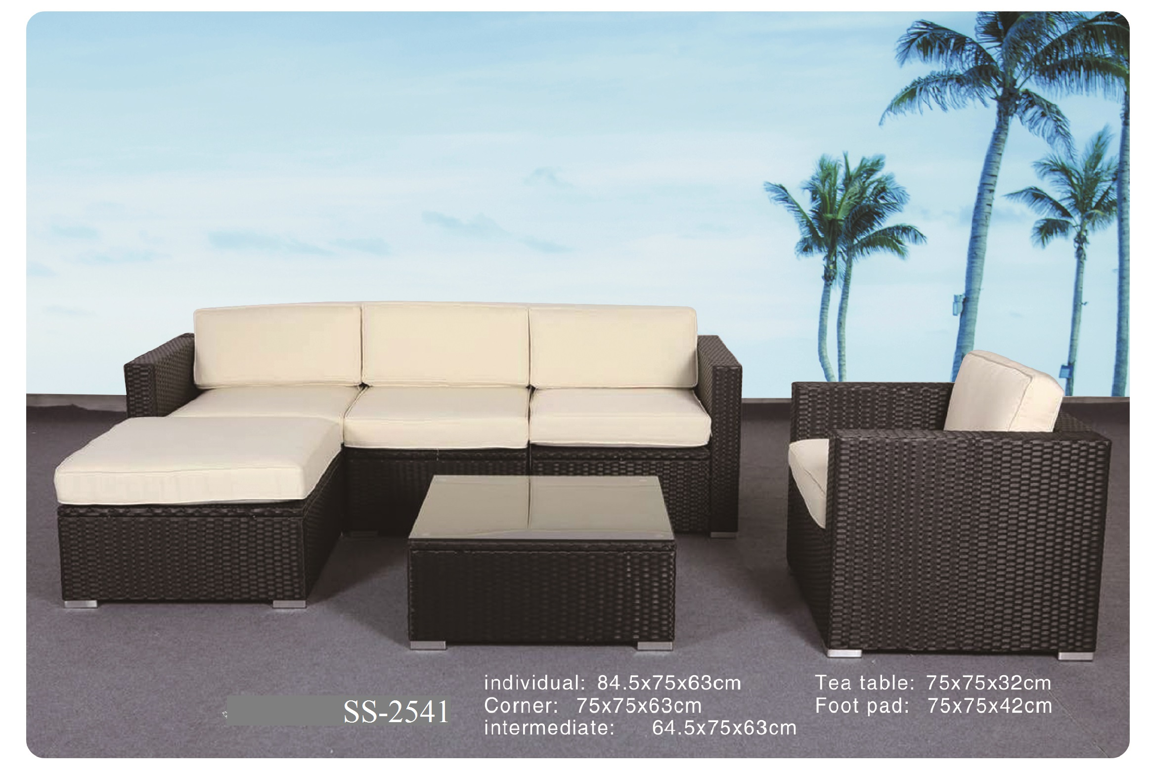 mini l shape outdoor sofa ss 2541
