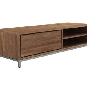 Modern Teak Tv Cabinet–142x47x38 Cm Zebano Collection