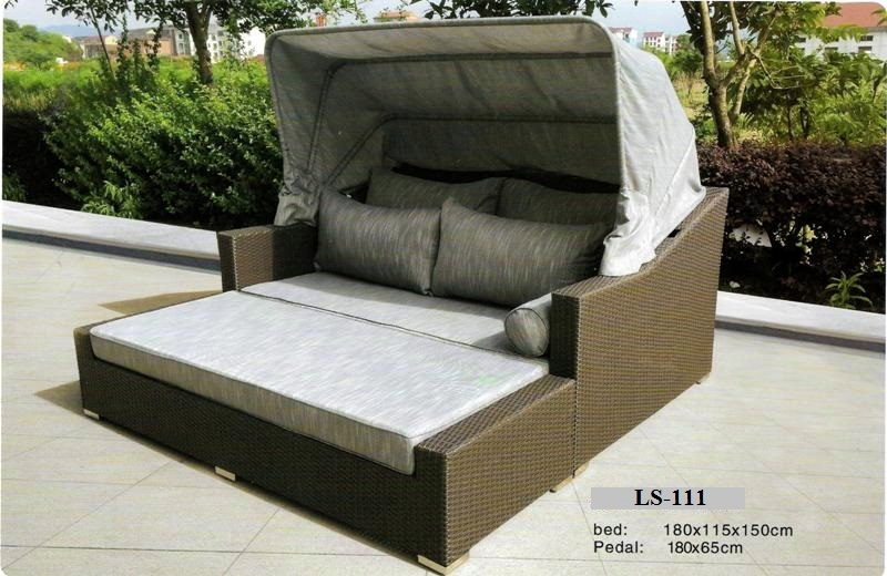 Wicker Lounge Bed With Canopy LS-111