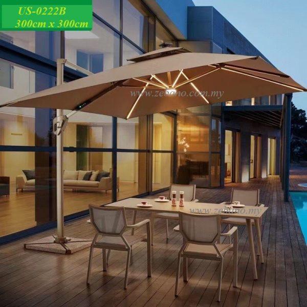 Pool deck umbrella with led lights Zebano Malaysia