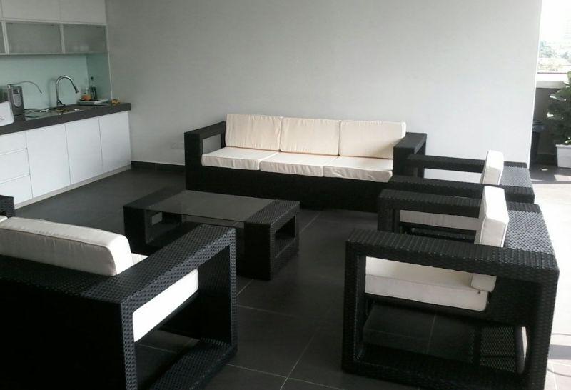 Outdoor Rattan 3 Seater Sofa Set, Patio Large Sofa Sets, Large Wicker Sofa