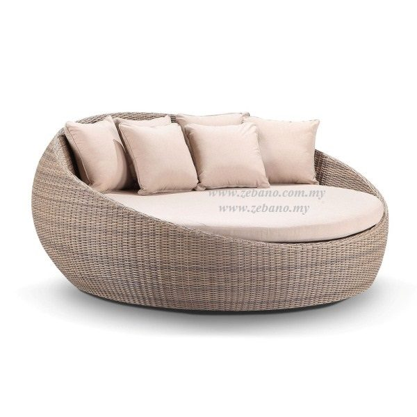 Round Outdoor Wicker Day Bed LS-099C (1)