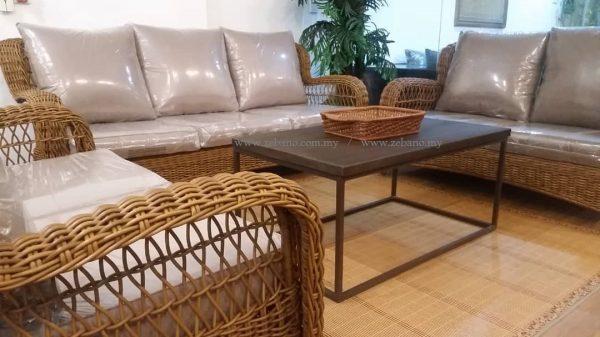 Classic wicker rattan sofa SS-989 #Zebano (2)